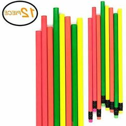 Wooden Lead Pencils Emraw Colorful Round No 2 HB Fluorescent