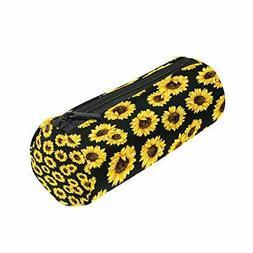 ALAZA Yellow Flower Sunflower Pencil Bag Pen Case Black Flor