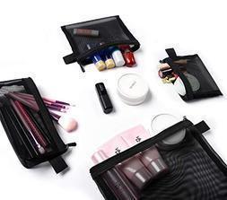 Patu Zipper Mesh Bags, Pack of 4 , Beauty Makeup Cosmetic Ac