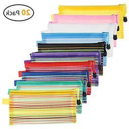 20 Pack 10 Colors Zipper Mesh Pouch, Pencil Pouch Pen Bag fo