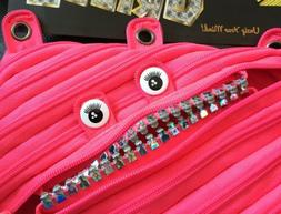 Zipit Zipsters Grillz Pencil Case Pink Zipper Pouch Binder M